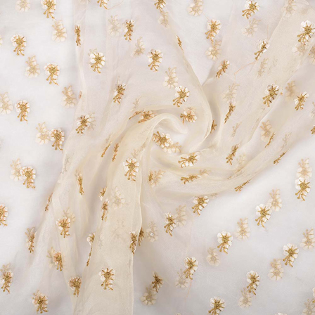 Cream Organza Fabric With Golden Flower Embroidery-51017