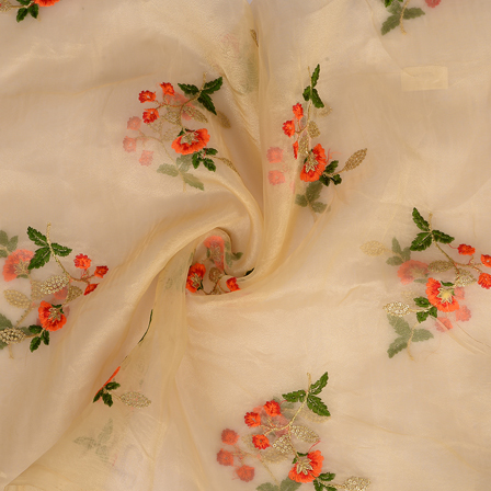 Cream Organza Fabric With Green and Orange Flower Embroidery-51001
