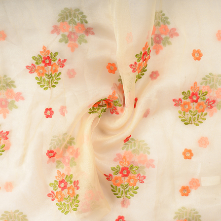 Cream Organza Fabric With Orange and Green Flower Embroidery-51296