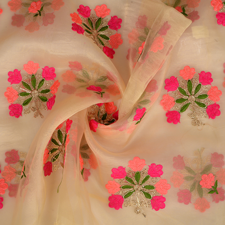 Cream Organza Fabric With Pink and Green Flower Embroidery -50092