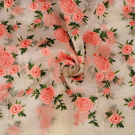 Cream Organza Fabric With Red and Green Flower Embroidery -50090