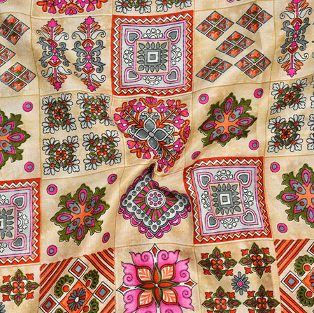 Cream Pink Warli Print Manipuri-Silk Fabric-18018