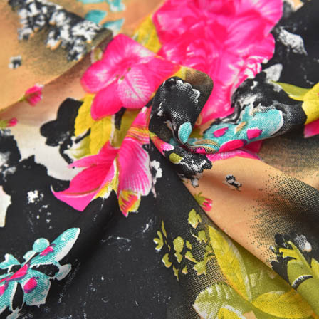 Cream-Pink and Black Floral Pattern Crepe Fabric-18035