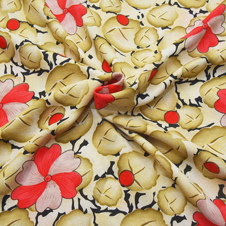 Cream-Pink and Black Floral Pattern Crepe Fabric-18080