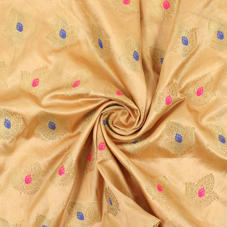 Cream Pink and Blue Banarasi Silk Fabric-8956