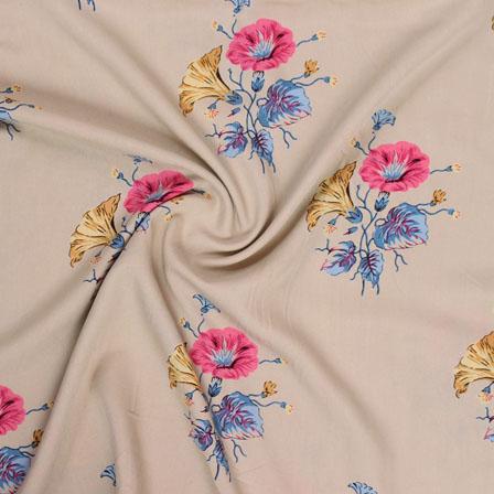 Cream Pink and Blue Block Print Rayon Fabric-14806