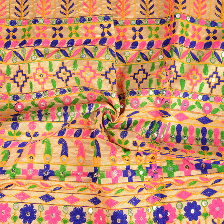 Cream-Pink and Blue Floral Design Gujrati Embroidery Fabric-60577
