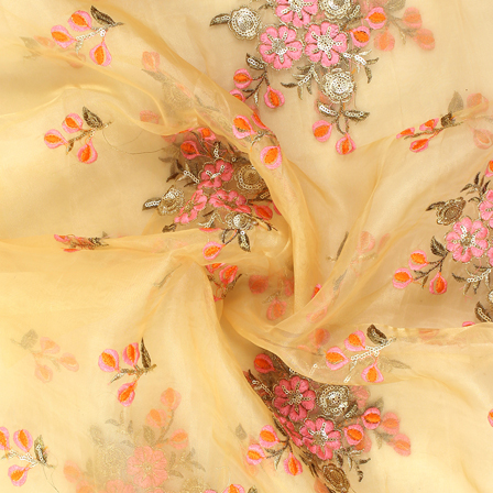 Cream-Pink and Golden Floral Design Embroidery  Silk Organza Fabric-50037