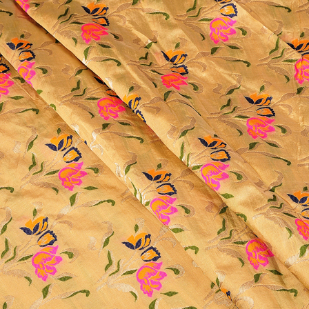 Cream-Pink and Golden Floral Digital Brocade Fabric-24092