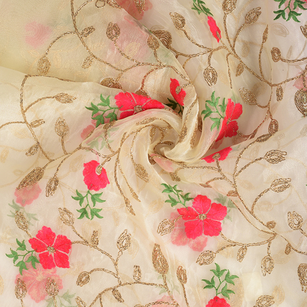 Cream-Pink and Golden Flower Organza Embroidery Fabric-51176