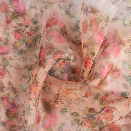 Cream-Pink and Green Digital Organza Fabric-51147