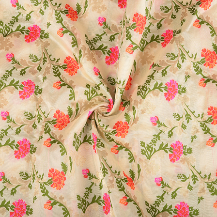 Cream-Pink and Green Floral Digital Brocade Fabric-24068