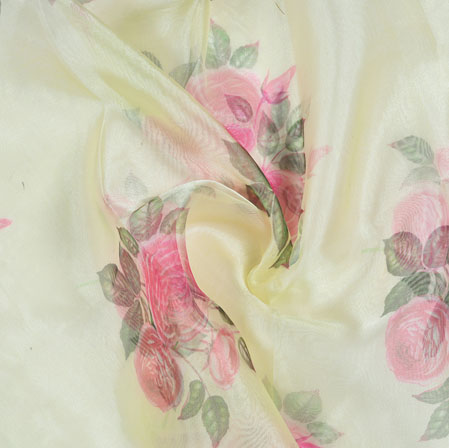 Cream Pink and Green Floral Organza Silk Fabric-22095