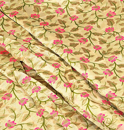 Cream-Pink and Green Flower With Leaf Digital Brocade Fabric-24088