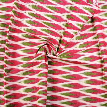 Cream-Pink and Green Ikat Print Cotton Kalamkari Fabric-10126