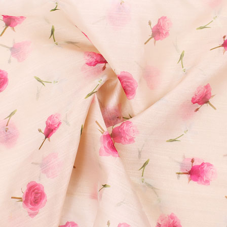 Cream Pink and Green Flower Organza Digital Silk Fabric-51485