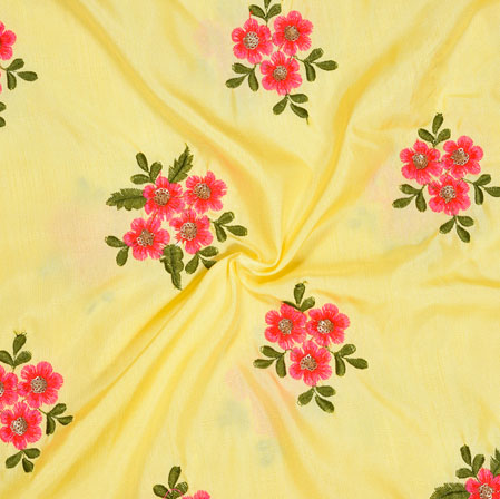 Cream Pink and Green Embroidery Silk Paper Fabric-18565