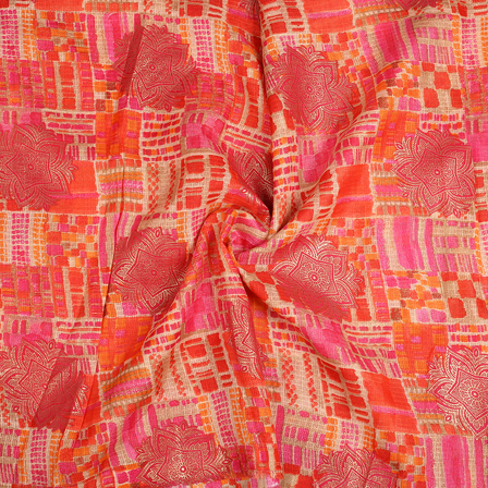 Cream-Pink and Orange Flower Design Kota Doria Fabric-25089