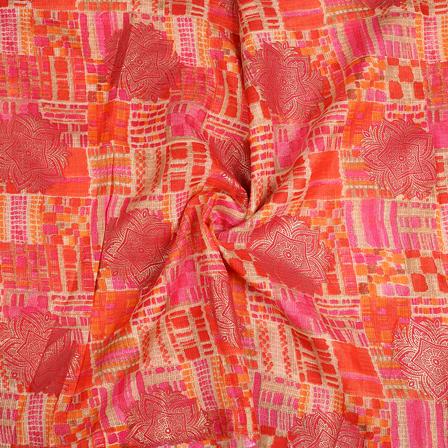 Cream-Pink and Orange Flower Design Kota Doria Fabric-25089