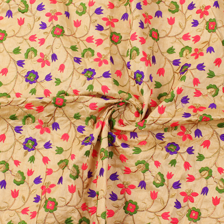 Cream-Pink and Purple Floral Pattern Silk Embroidery Fabric-60216