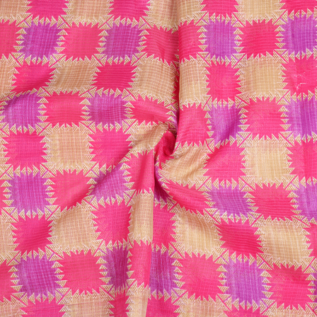 Cream-Pink and Purple Kota Doria Fabric-25087