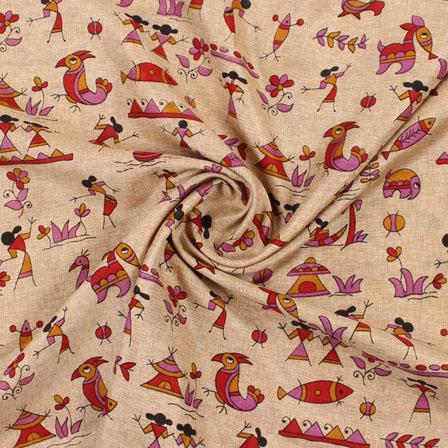 Cream Pink and Red Manipuri Silk Fabric-16406