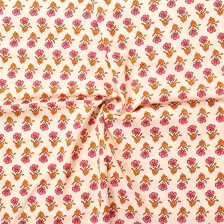 Cream-Pink and Yellow Floral Design Block Print Cotton Fabric-14288