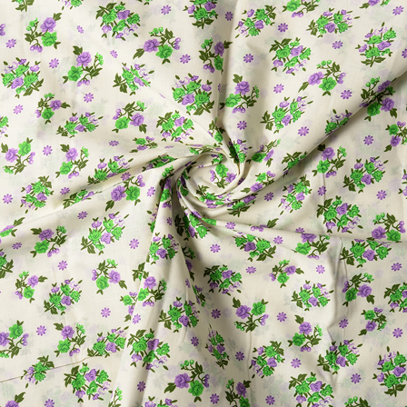 Cream-Purple and Green Flower Design Block Print Cotton Fabric-14438