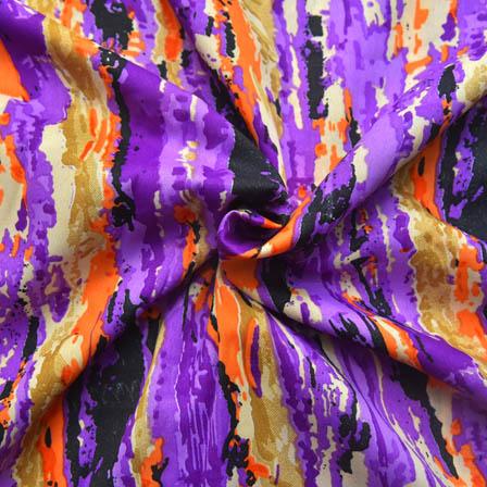 Cream-Purple and Orange Unique Shape Crepe Fabric-18021