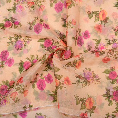 Cream-Purple and Pink Floral Design Organza Silk Fabric-51039