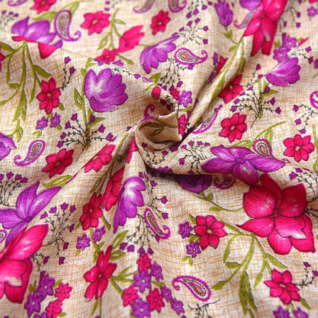 Cream-Purple and Pink Floral Pattern Kalamkari Manipuri Silk-16097