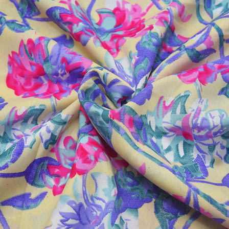 Cream-Purple and Pink Flower Design Crepe Fabric-18039