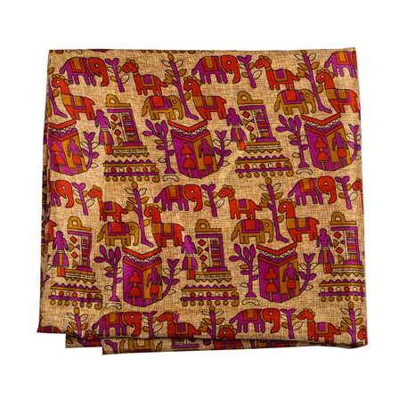 Cream-Purple and Red Kalamkari Manipuri Silk Fabric-16309