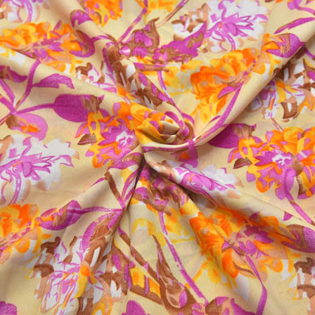 Cream-Purple and Yellow Floral Pattern Crepe Fabric-18028