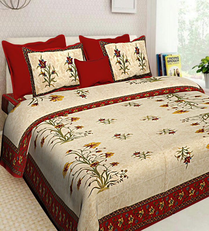 Cream Red Cotton Jaipuri Bedsheet-628