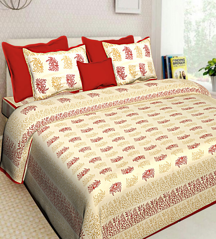 Cream Red Cotton Jaipuri Bedsheet-648