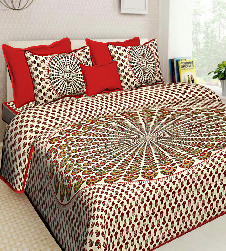 Cream Red Cotton Jaipuri Bedsheet-653