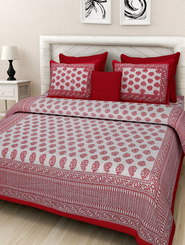 Cream Red Cotton Jaipuri Bedsheet-667