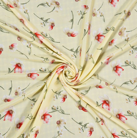 Cream Red Digital Flower Print Georgette Fabric-41217