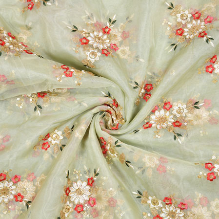 Cream Red Flower Organza Embroidery Fabric-22252