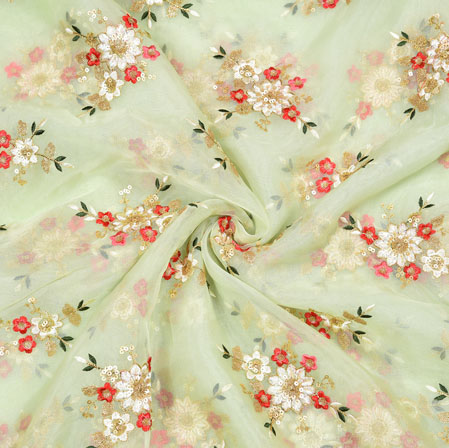 Cream Red Flower Organza Embroidery Fabric-22261