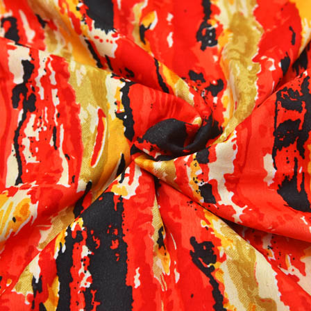 Cream-Red and Black Unique Design Crepe Fabric-18019