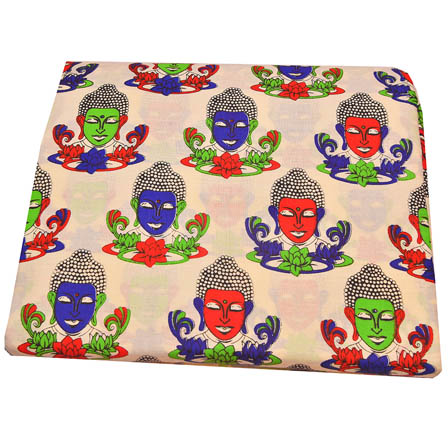 Cream-Red and Blue Buddha Design Kalamkari Cotton Fabric-5789