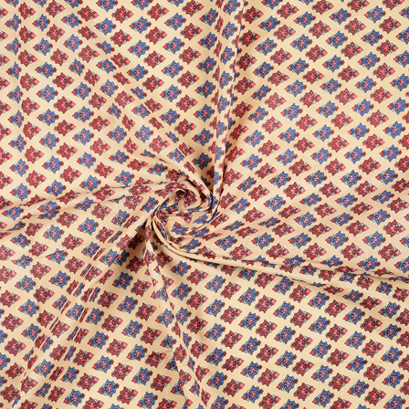 Cream-Red and Blue Floral Design Block Print Cotton Fabric-14453