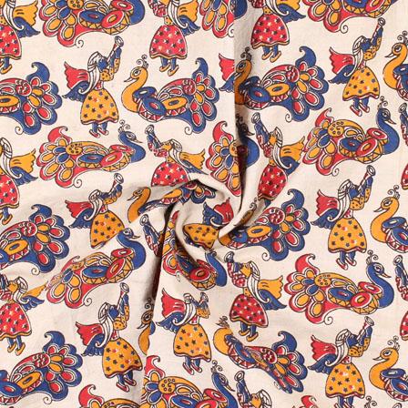 Cream-Red and Blue Peacock Kalamkari Cotton Fabric-10167