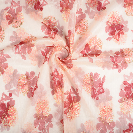 Cream-Red and Golden Floral Organza Print Fabric-51283