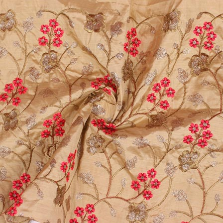 Cream Red and Golden Jalbari Embroidery Silk Fabric-61023