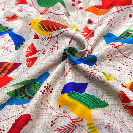 Cream-Red and Green Bird Design Kalamkari Manipuri Silk-16094
