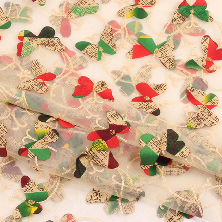 Cream-Red and Green Butterfly Net Embroidery Fabric-60847