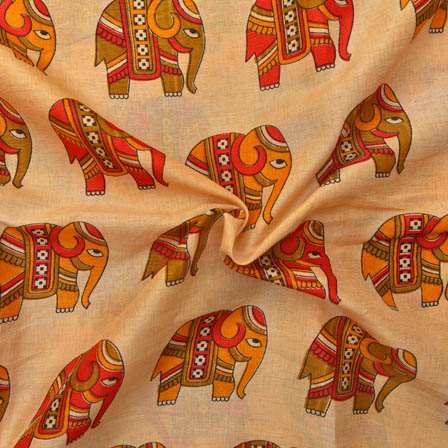 Cream-Red and Green Elephant Design Kalamkari Manipuri Silk-16036
